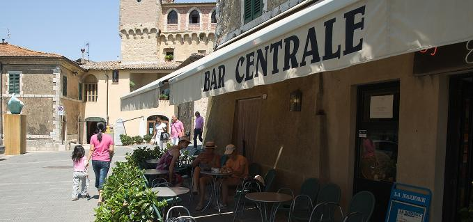 the bar centrale ice cream maker and newsagent is located in the main square of san casciano dei bagni
